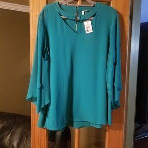 Cato green bat sleeve blouse 18w